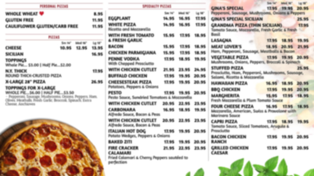 Ginas Pizza Menu