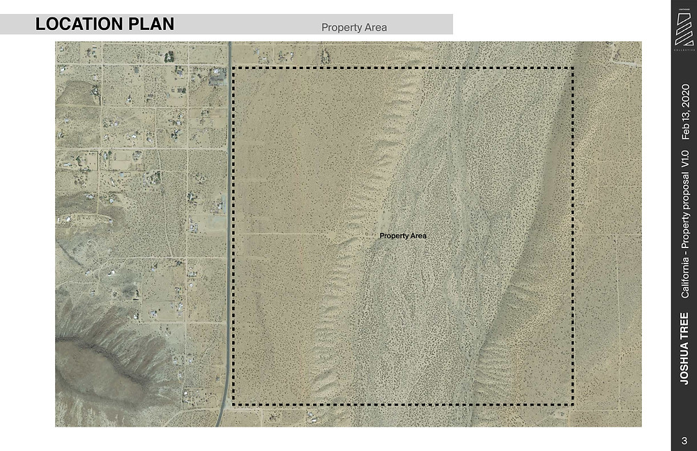 Location plan aerial view of Flamingo Heights glamping resort project site.