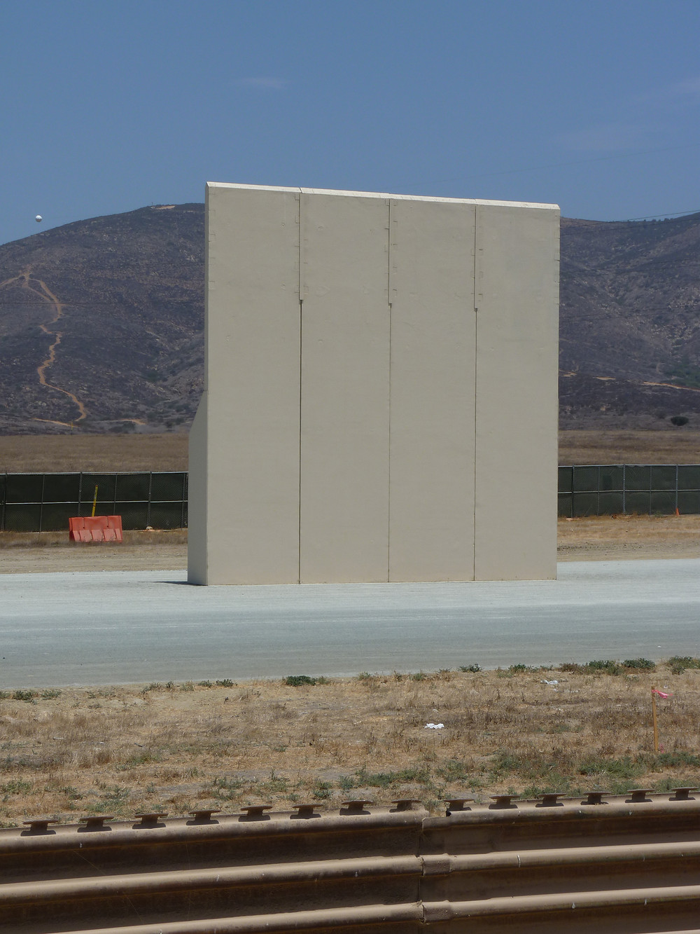 A prototype of the new 30' high border wall President Trump is building along the U.S.-Mexican border.