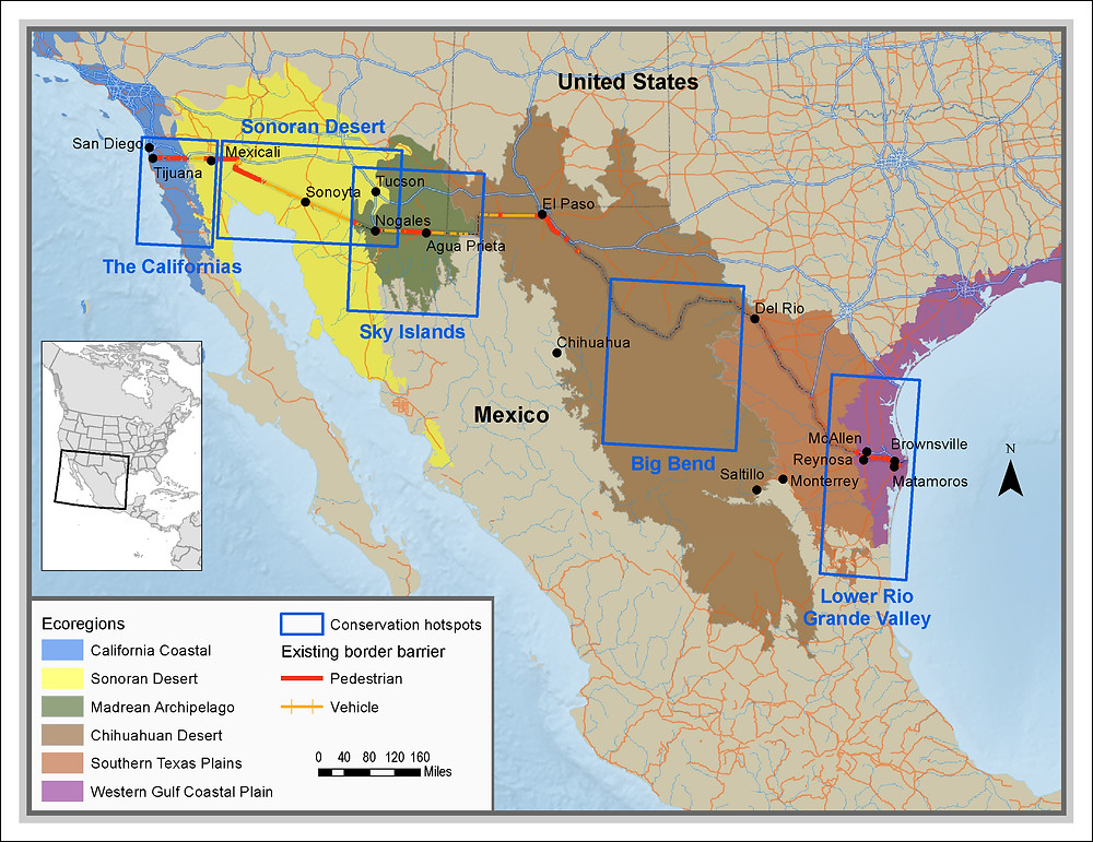 The five Borderlands Conservation Hotspots identified by Defenders of Wildlife, which highlight areas of high biological diversity and significant investment in conservation land and projects. See Peters and Clark (2018) for more information.