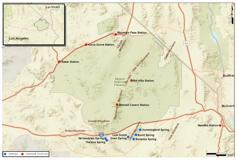 Location of the springs investigated within the Mojave Trails National Monument. Also shown are the location of the closest weather stations where local precipitation has been recorded.