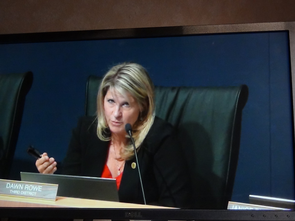 Third District Supervisor Dawn Rowe voices concerns for the developers of the Daggett Solar Power Project.