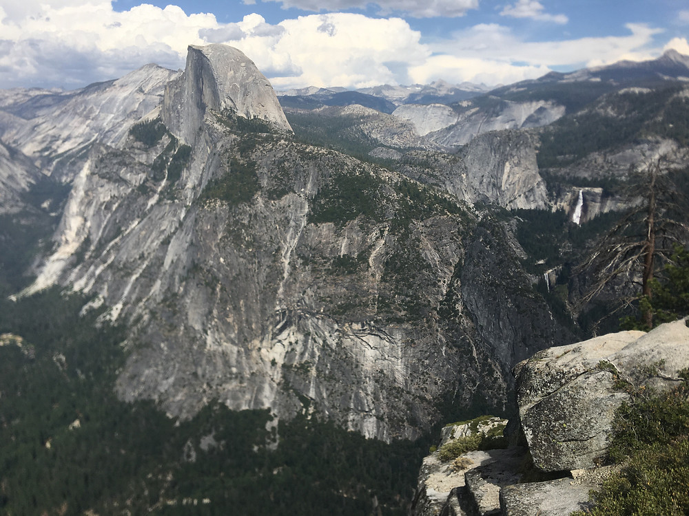View from Glacier Point of Yosemite's Half Dome, with Vernal and Nevada Falls.