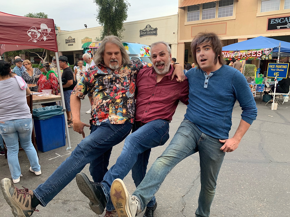 Southwest Stories' Steve Brown joins Travis Boley of the Oregon-California Trails Association, and Knowledgetree Films producer Kevin Marcus in celebrating the show's new partnership with OCTA, in Yuma, Arizona.