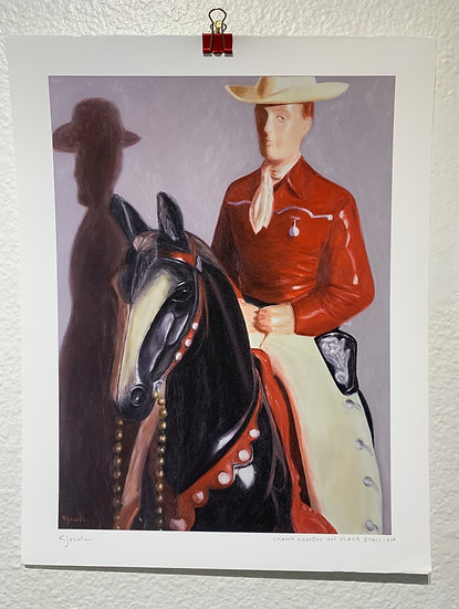 Champ Cowboy on Black Stallion (Print)