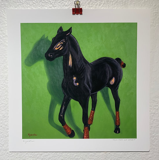 Polo Pony on Green (Print)