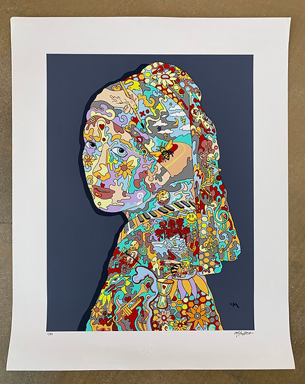 Girl with a Timepiece Earring LE Print