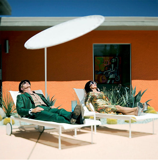 Couple Sunning in Polyester