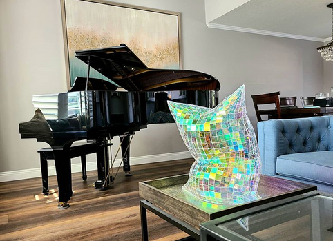 Holographic Pillow in Piano Room