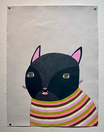 Black Cat in Striped Sweater