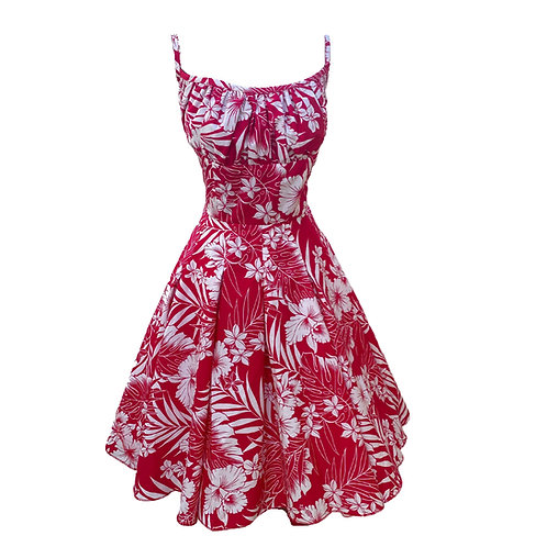 Box Pleated Sundress - Red & White Hibiscus - 1950s Style
