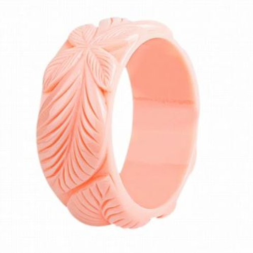 Coral Hibiscus Carved Resin Bangle