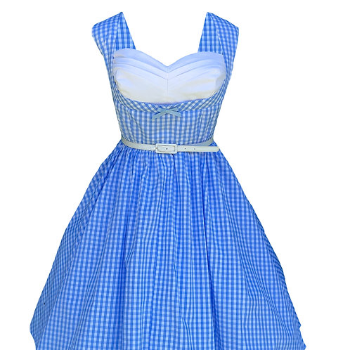 Blue Gingham Pleated Bust Pinup Dress
