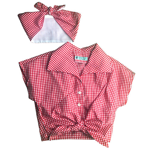 Gingham Tie Top With Bandanna