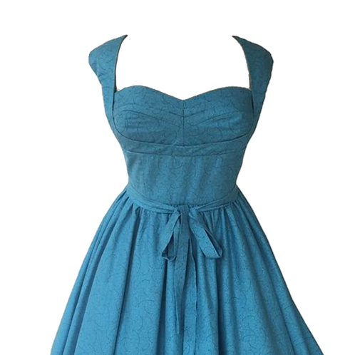Turquoise Pleated Bust Pinup Dress