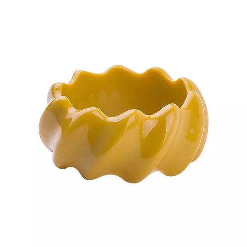 Wide Yellow Zig Zag  Bangle