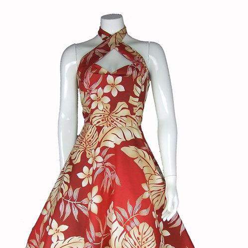 Red  Halterneck Tropical Frangipani Dress