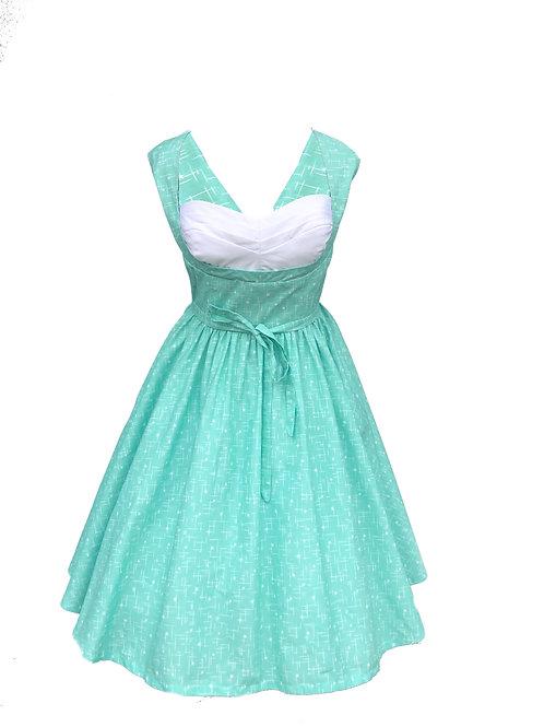 Mint Pleated Bust Dress
