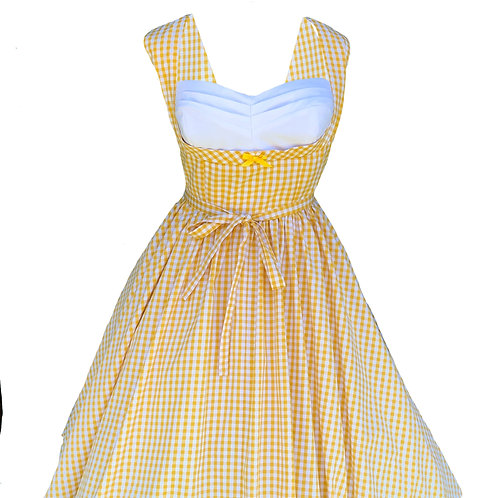 Yellow Gingham Pleated Bust Pinup Dress