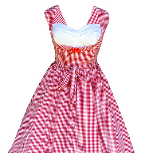 Red Gingham Pleated Bust Pinup Dress