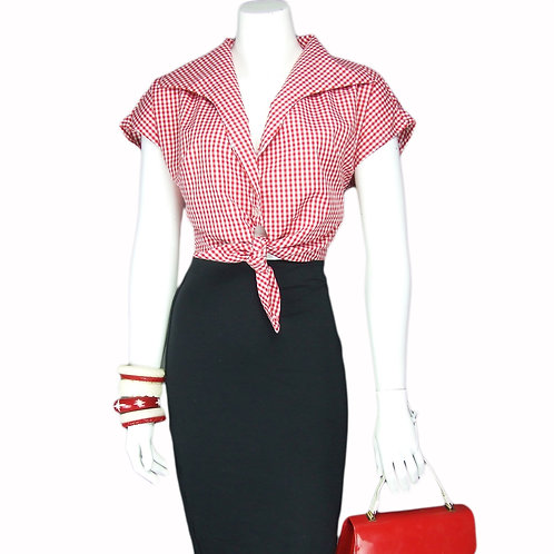 Red Gingham Tie Top