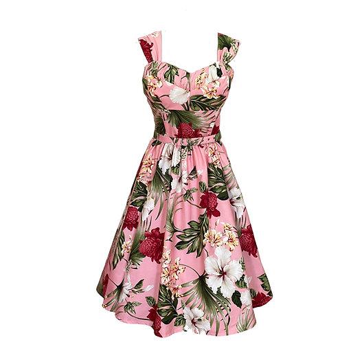 Jane Full Circle Dress - Pink Hibiscus - 1950s Style