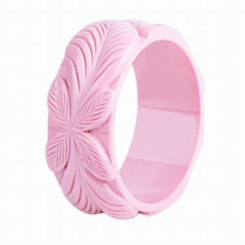 Baby Pink Carved Resin Bangle