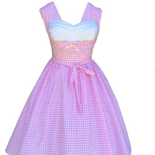 Pink Gingham Pleated Bust Pinup Dress
