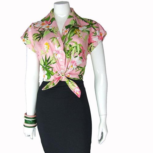 Tropical Pink Tie Top