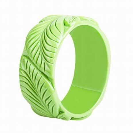 Green Carved Resin Bangle