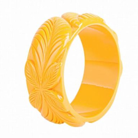 Yellow Carved Resin Bangle