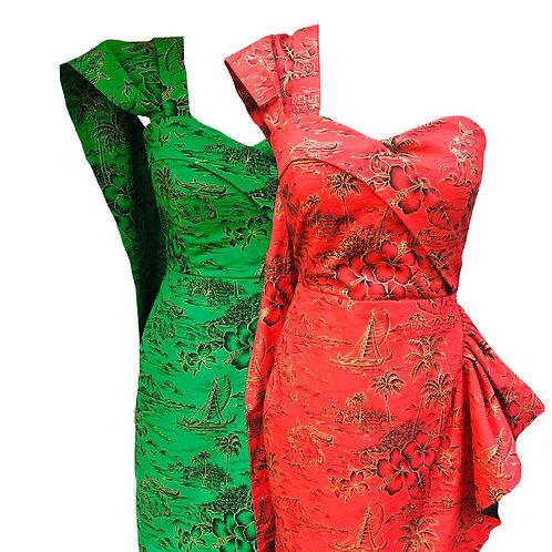 Luana Hawaiian Sarong Dress With Drape