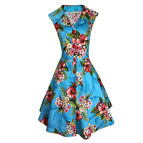3/4 Circle Skirt - 1950s Style - Day Dress with Pockets - Style TH-202