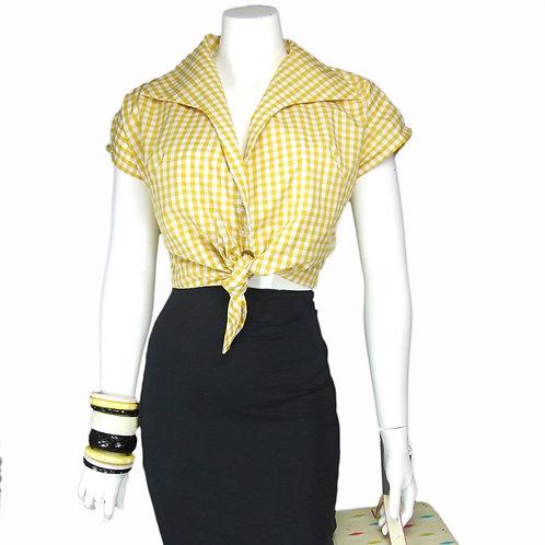 Yellow Gingham Tie Top