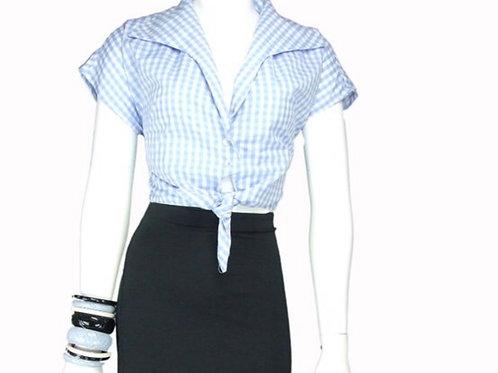 Blue Gingham Tie Top