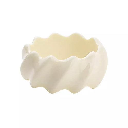 Wide Cream Zig Zag  Bangle