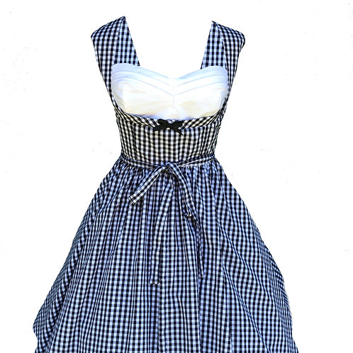 Black Gingham Pleated Bust Pinup Dress