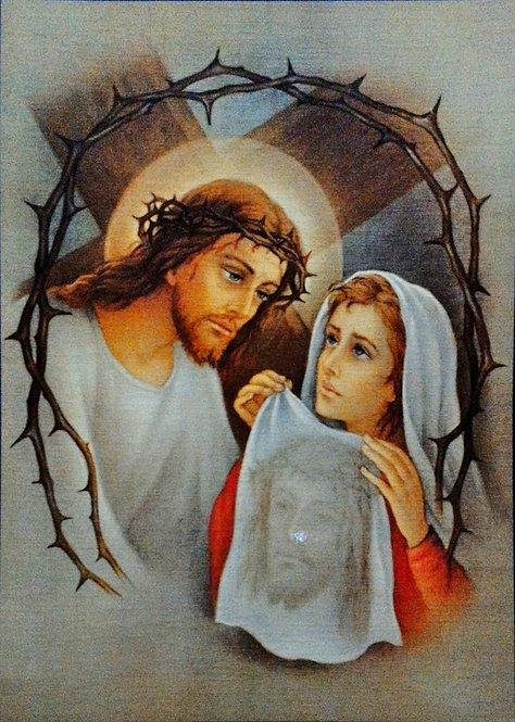 "Jesus with Veronica 9 3/4"" x 13 1/2"""