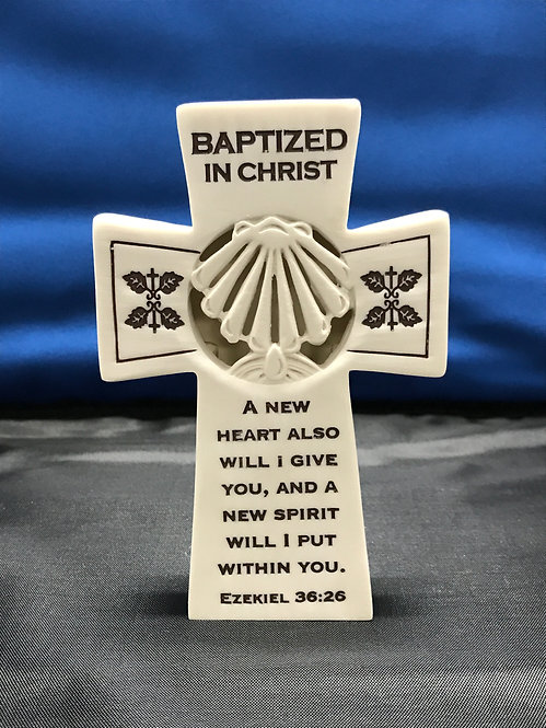 Baptized in Christ Lighted Tabletop Cross