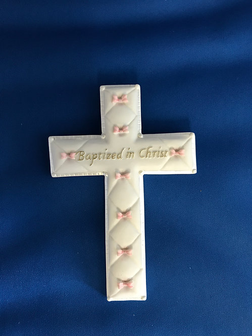 "Baptized in Christ Cross (Pink or Blue) 6"" x 4"""