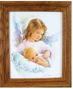 "Guardian Angel with Baby 8"" x 10"""