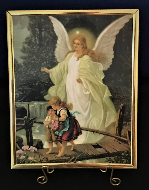 """Guardian Angel with Children 8"""" x 10"""" Wall Plaque"""