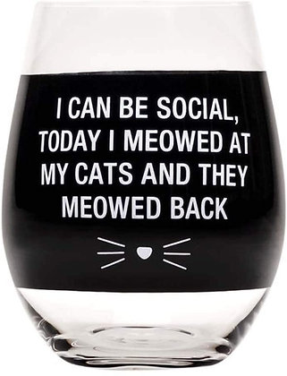 Meowed Back Wine Glass