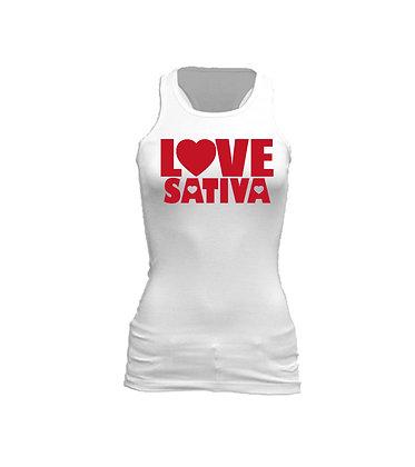 Love Sativa on White Racerback Tank