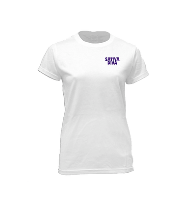 Purple Urkle Logo On White Crew Neck Tee