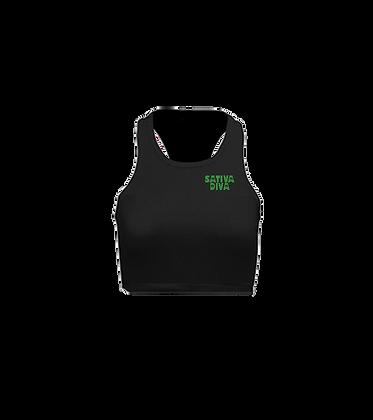 Kush Green Logo on Black Crop Racerback Tank