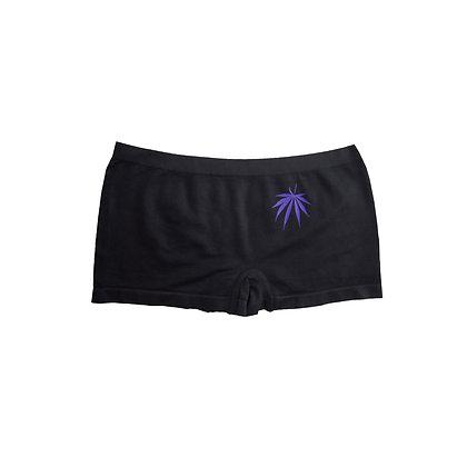 Purple Urkle on Black Girl Shorts