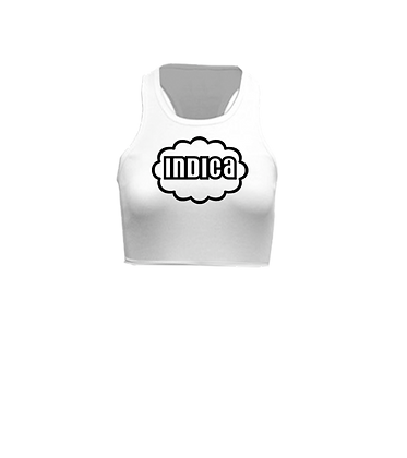 Indica Cloud On White Racerback Crop Top