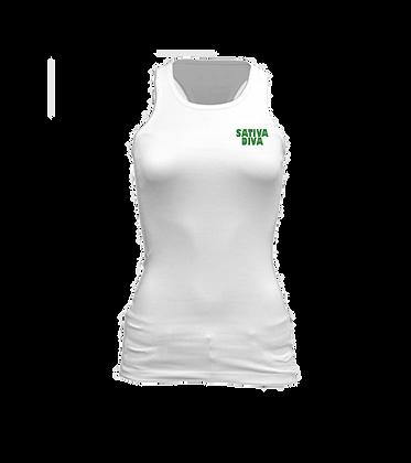 Kush Green Logo on White Racerback Tank Top