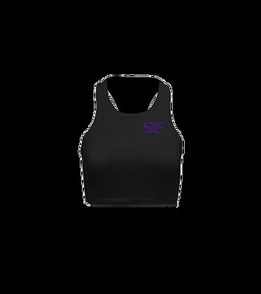 Purple Urkle Logo on Black Racerback Crop